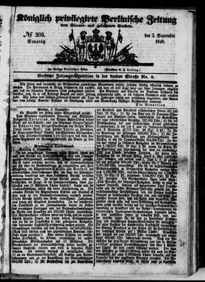 Königlich privilegirte Berlinische Zeitung von Staats- und gelehrten Sachen vom 03.09.1848