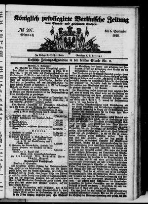 Königlich privilegirte Berlinische Zeitung von Staats- und gelehrten Sachen vom 06.09.1848