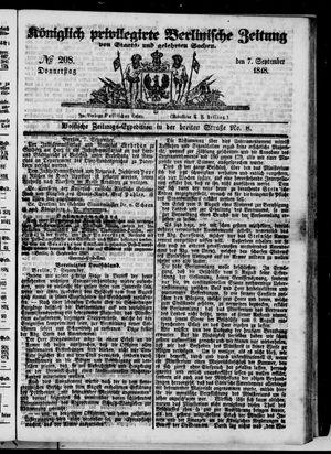 Königlich privilegirte Berlinische Zeitung von Staats- und gelehrten Sachen vom 07.09.1848