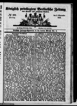 Königlich privilegirte Berlinische Zeitung von Staats- und gelehrten Sachen vom 08.09.1848