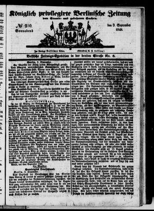 Königlich privilegirte Berlinische Zeitung von Staats- und gelehrten Sachen vom 09.09.1848