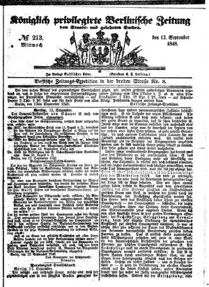 Königlich privilegirte Berlinische Zeitung von Staats- und gelehrten Sachen vom 13.09.1848