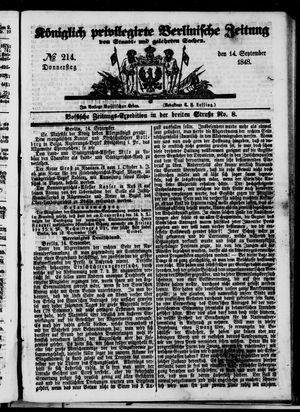 Königlich privilegirte Berlinische Zeitung von Staats- und gelehrten Sachen on Sep 14, 1848