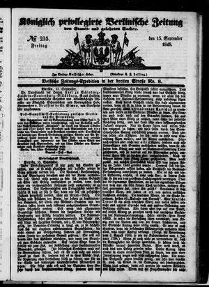 Königlich privilegirte Berlinische Zeitung von Staats- und gelehrten Sachen vom 15.09.1848