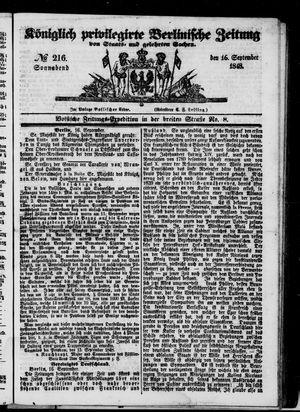 Königlich privilegirte Berlinische Zeitung von Staats- und gelehrten Sachen on Sep 16, 1848