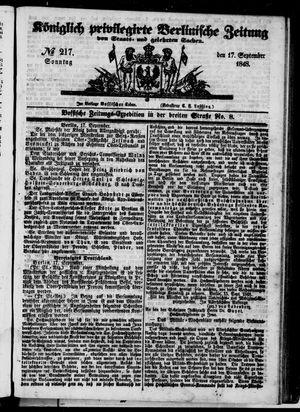 Königlich privilegirte Berlinische Zeitung von Staats- und gelehrten Sachen vom 17.09.1848