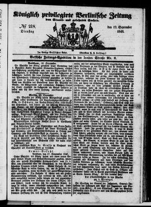 Königlich privilegirte Berlinische Zeitung von Staats- und gelehrten Sachen vom 19.09.1848