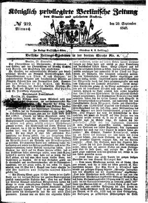Königlich privilegirte Berlinische Zeitung von Staats- und gelehrten Sachen vom 20.09.1848