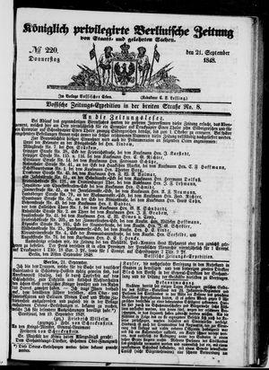 Königlich privilegirte Berlinische Zeitung von Staats- und gelehrten Sachen vom 21.09.1848