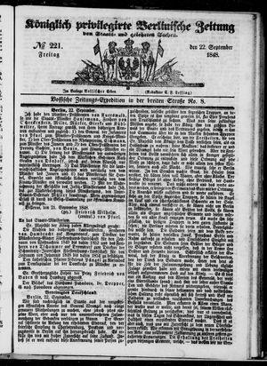 Königlich privilegirte Berlinische Zeitung von Staats- und gelehrten Sachen vom 22.09.1848