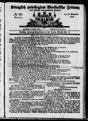 Königlich privilegirte Berlinische Zeitung von Staats- und gelehrten Sachen vom 24.09.1848