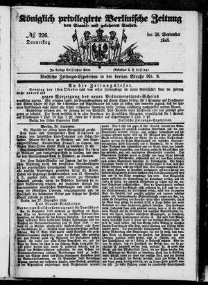 Königlich privilegirte Berlinische Zeitung von Staats- und gelehrten Sachen vom 28.09.1848