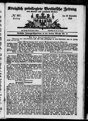 Königlich privilegirte Berlinische Zeitung von Staats- und gelehrten Sachen vom 29.09.1848