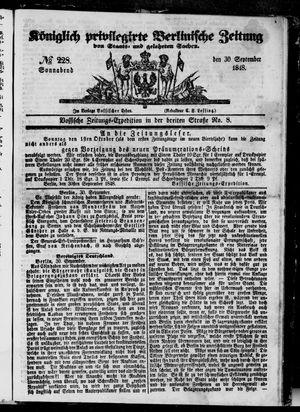 Königlich privilegirte Berlinische Zeitung von Staats- und gelehrten Sachen vom 30.09.1848