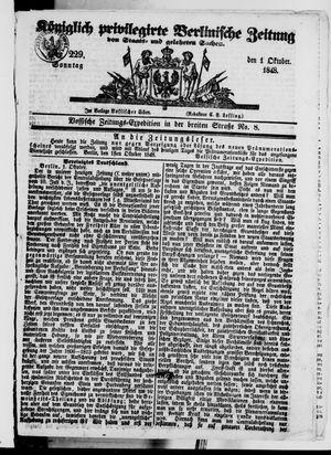 Königlich privilegirte Berlinische Zeitung von Staats- und gelehrten Sachen vom 01.10.1848