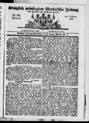 Königlich privilegirte Berlinische Zeitung von Staats- und gelehrten Sachen vom 04.10.1848