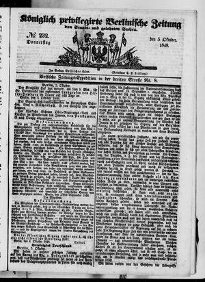 Königlich privilegirte Berlinische Zeitung von Staats- und gelehrten Sachen vom 05.10.1848