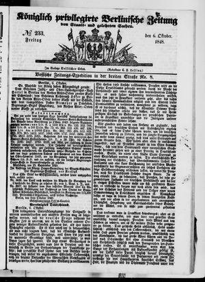 Königlich privilegirte Berlinische Zeitung von Staats- und gelehrten Sachen vom 06.10.1848