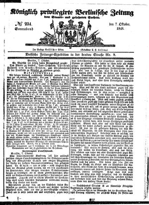 Königlich privilegirte Berlinische Zeitung von Staats- und gelehrten Sachen vom 07.10.1848