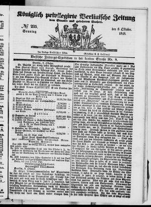 Königlich privilegirte Berlinische Zeitung von Staats- und gelehrten Sachen vom 08.10.1848