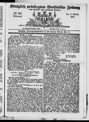 Königlich privilegirte Berlinische Zeitung von Staats- und gelehrten Sachen vom 11.10.1848