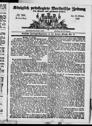Königlich privilegirte Berlinische Zeitung von Staats- und gelehrten Sachen vom 12.10.1848