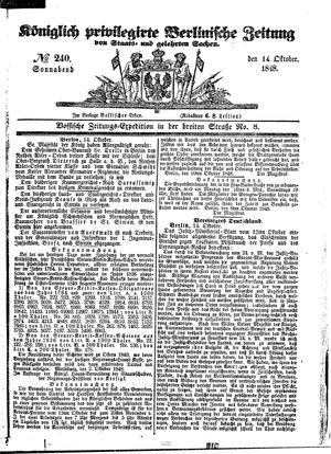 Königlich privilegirte Berlinische Zeitung von Staats- und gelehrten Sachen vom 14.10.1848