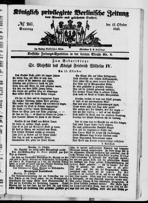Königlich privilegirte Berlinische Zeitung von Staats- und gelehrten Sachen vom 15.10.1848