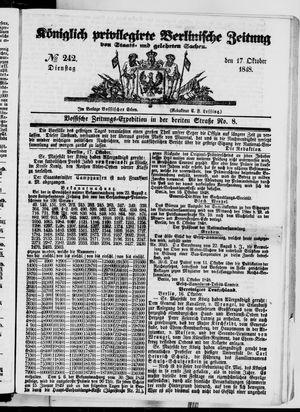 Königlich privilegirte Berlinische Zeitung von Staats- und gelehrten Sachen vom 17.10.1848