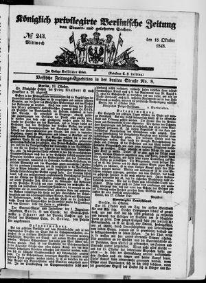 Königlich privilegirte Berlinische Zeitung von Staats- und gelehrten Sachen vom 18.10.1848