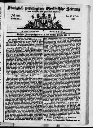 Königlich privilegirte Berlinische Zeitung von Staats- und gelehrten Sachen vom 19.10.1848