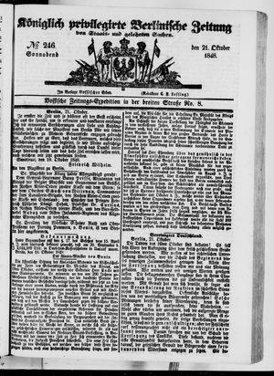Königlich privilegirte Berlinische Zeitung von Staats- und gelehrten Sachen vom 21.10.1848