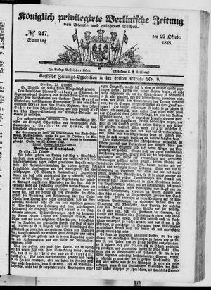 Königlich privilegirte Berlinische Zeitung von Staats- und gelehrten Sachen vom 22.10.1848