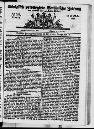 Königlich privilegirte Berlinische Zeitung von Staats- und gelehrten Sachen vom 25.10.1848