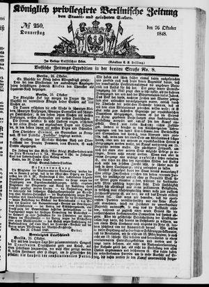Königlich privilegirte Berlinische Zeitung von Staats- und gelehrten Sachen vom 26.10.1848