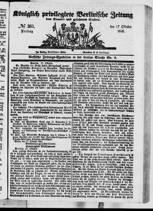 Königlich privilegirte Berlinische Zeitung von Staats- und gelehrten Sachen vom 27.10.1848