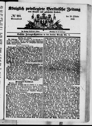 Königlich privilegirte Berlinische Zeitung von Staats- und gelehrten Sachen vom 28.10.1848