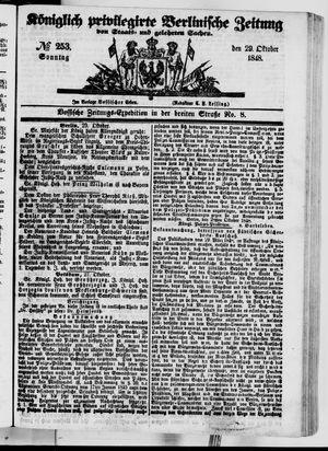 Königlich privilegirte Berlinische Zeitung von Staats- und gelehrten Sachen vom 29.10.1848