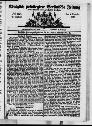 Königlich privilegirte Berlinische Zeitung von Staats- und gelehrten Sachen vom 04.11.1848