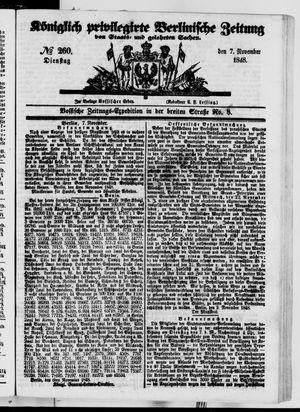 Königlich privilegirte Berlinische Zeitung von Staats- und gelehrten Sachen vom 07.11.1848