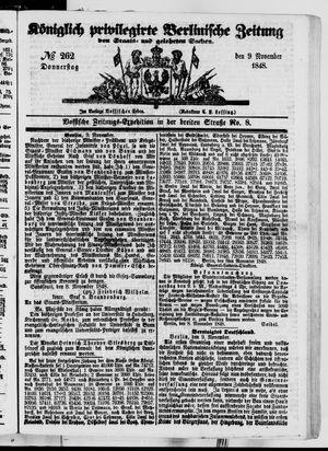 Königlich privilegirte Berlinische Zeitung von Staats- und gelehrten Sachen vom 09.11.1848