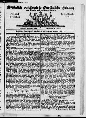 Königlich privilegirte Berlinische Zeitung von Staats- und gelehrten Sachen vom 11.11.1848