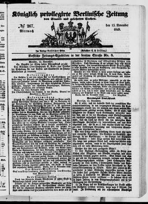 Königlich privilegirte Berlinische Zeitung von Staats- und gelehrten Sachen vom 15.11.1848