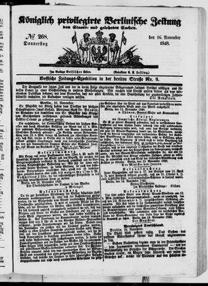 Königlich privilegirte Berlinische Zeitung von Staats- und gelehrten Sachen vom 16.11.1848