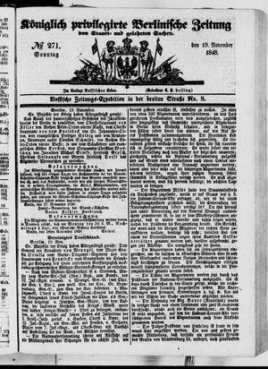 Königlich privilegirte Berlinische Zeitung von Staats- und gelehrten Sachen vom 19.11.1848
