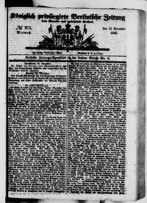 Königlich privilegirte Berlinische Zeitung von Staats- und gelehrten Sachen vom 22.11.1848