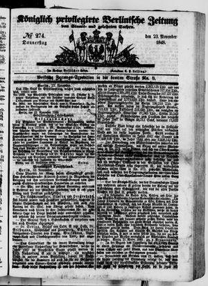 Königlich privilegirte Berlinische Zeitung von Staats- und gelehrten Sachen vom 23.11.1848