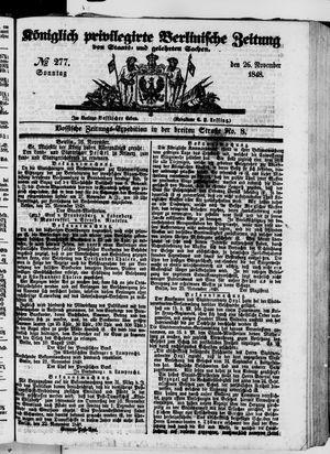 Königlich privilegirte Berlinische Zeitung von Staats- und gelehrten Sachen vom 26.11.1848