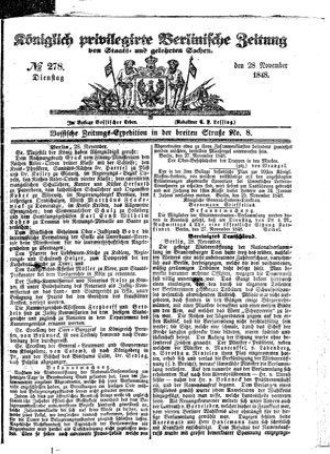 Königlich privilegirte Berlinische Zeitung von Staats- und gelehrten Sachen vom 28.11.1848