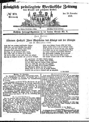 Königlich privilegirte Berlinische Zeitung von Staats- und gelehrten Sachen vom 29.11.1848